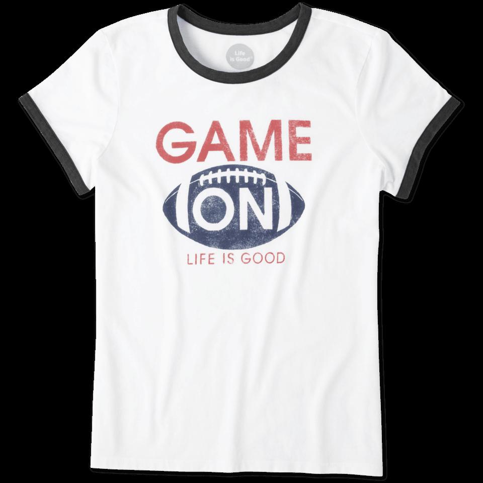 Womens Game On Football Ringer Tee