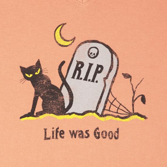 Women's Life Was Good Cat Long Sleeve Crusher Vee