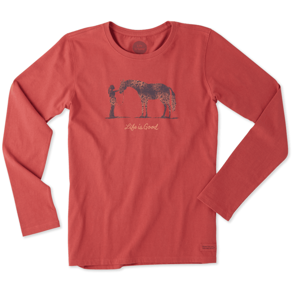 Womens Life Is Good Horse Long Sleeve Crusher Tee
