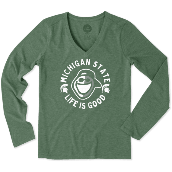 Women's Michigan State Face Paint Jake Long Sleeve Cool Vee