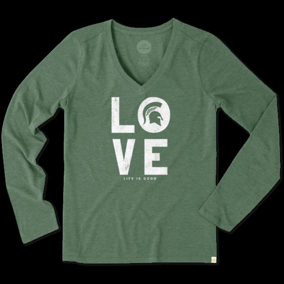 Women's Michigan State Love Long Sleeve Cool Vee