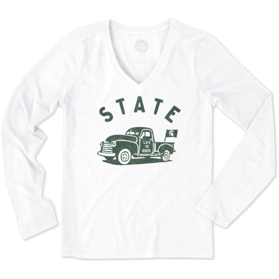 Women's Michigan State Vintage Truck Long Sleeve Cool Vee