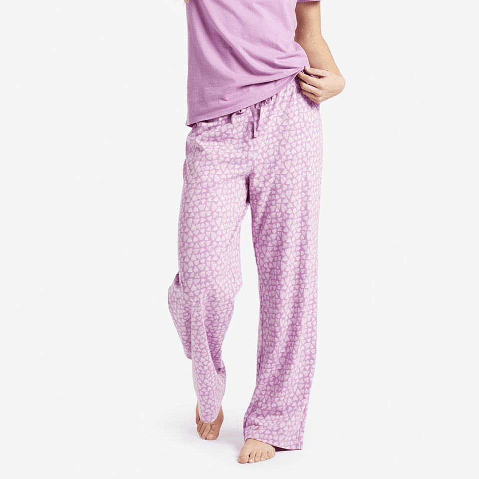 Womens Mini Hearts Jersey Sleep Pants