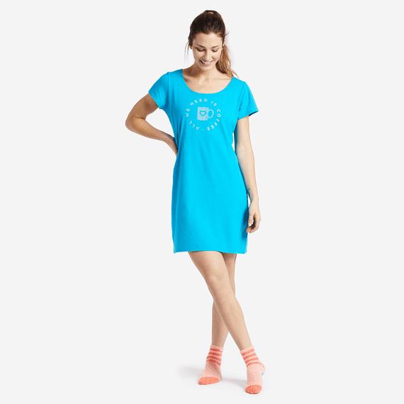 Women's Need Coffee Sleep Tee Dress
