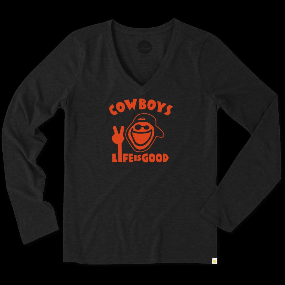 Women's Oklahoma State Cowboys Peace Jake Long Sleeve Cool Vee 50875-XL