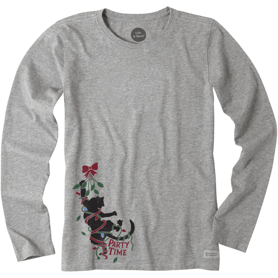 Womens Party Time Cat Long Sleeve Crusher Tee