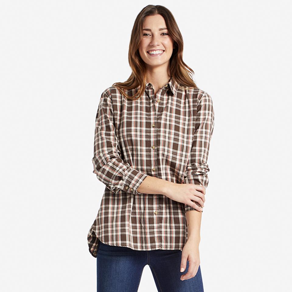 Womens Rich Brown Down Home Plaid Shirt