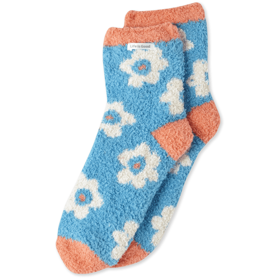 Womens Scattered Flowers Snuggle Crew Socks