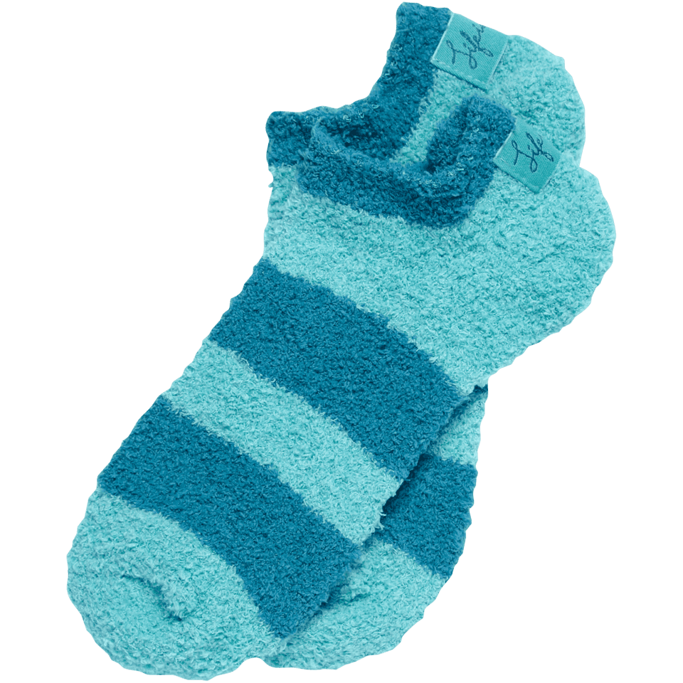 Life is good Women's Lightweight Low Cut Snuggle Socks, Blue Stripes