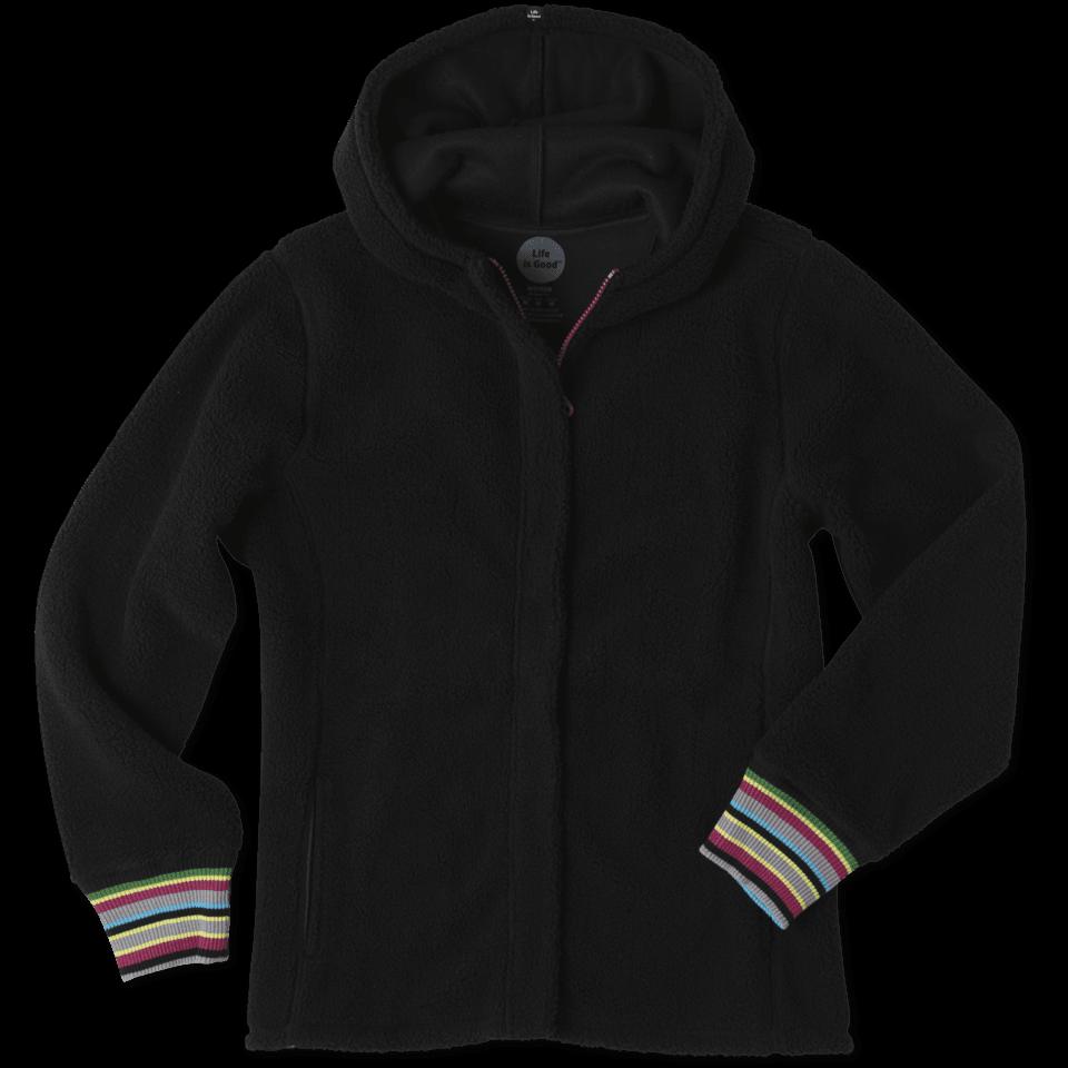 Women's Striped Cuff Sherpa Hoodie 46504-L