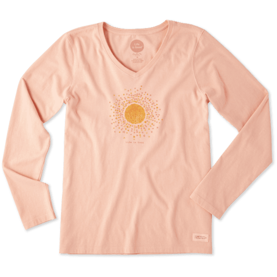 Women's Sun Hearts Long Sleeve Crusher Vee