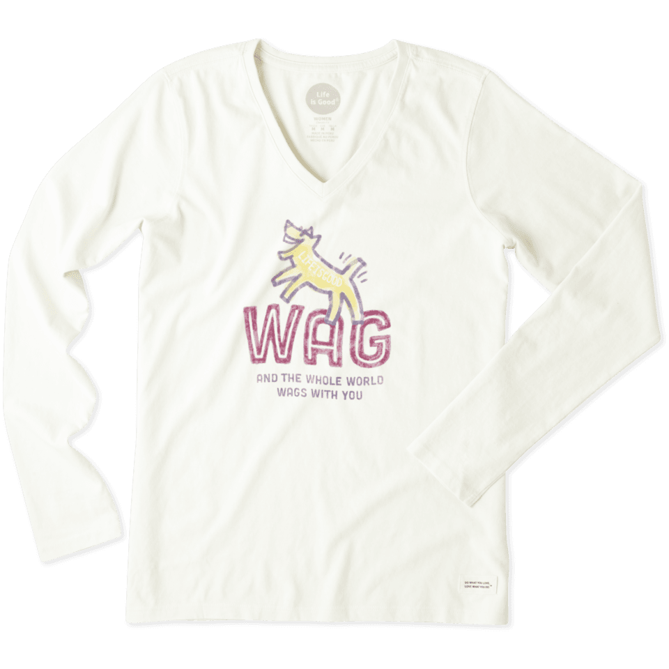 Women's Wag and the Whole World Wags with You Long Sleeve Crusher Vee 46586-S