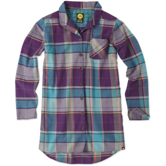 Women's Plaid Button-Up Sleep Shirt|Life is Good