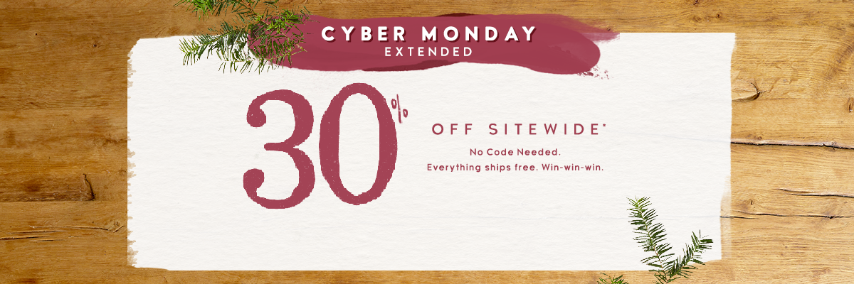 Cyber Monday Extended - Get 30% off your order