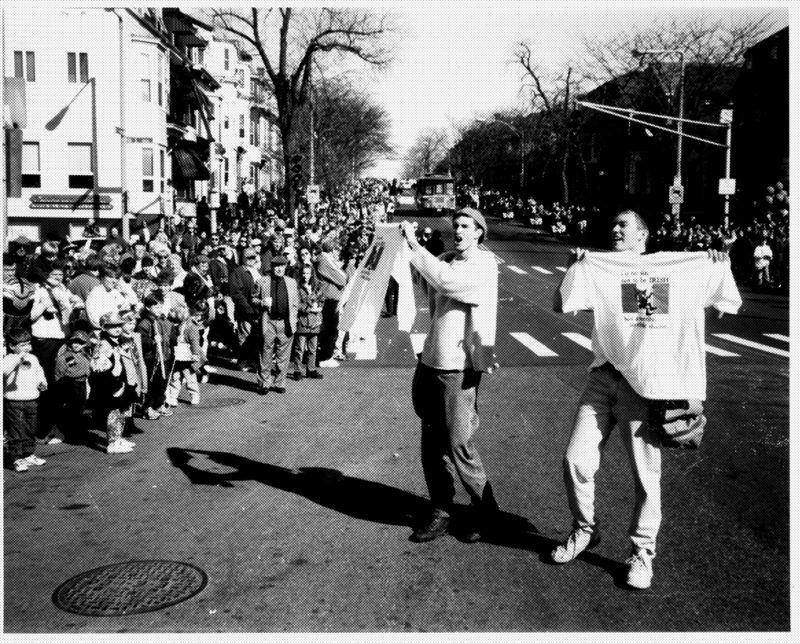 Bert and John Jacobs hawking tee shirts in the streets of Boston in the early days of Life is Good
